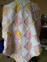 """Handmade Rag Quilt, """"Little Cutie"""", Baby Girl, Pink/White, 3' x 3' - $54.45"""