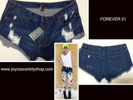 Forever 21 Girls Blue Jean Shorts Distressed Ripped SZ 27 - $13.99