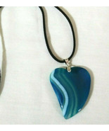 Necklace with Blue Banded Agate Natural Healing Stone Women or Men Boho ... - $19.79