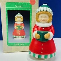 Christmas Music Box Caroler figurine decor holiday Wish you merry xmas S... - $28.86