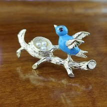 Gerry's Signed Gold Tone Enamel Blue Bird Nest Brooch Pin - $22.95