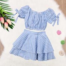 Plaid Kids Baby Girls Off Shoulder Crop Top T-shirt Blouse Skirt Outfits Summer