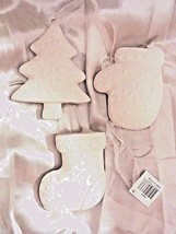 "NIB Set of 3 white ceramic ornaments: tree, glove mitten (HEAVY) 3 1/2""-... - $18.69"