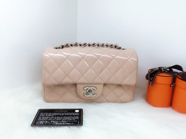 Authentic Chanel Pink Quilted Patent Leather Large Mini Rectangular Flap Bag