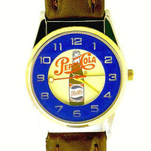 Pepsi Cola Logo Dial Rare Fossil Made Easy Read Unworn Brown Band Watch Only $69 - $68.16