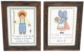 Vintage Completed Cross Stitch Pair 2 BOY GIRL Finished Needlepoint Fram... - $62.09
