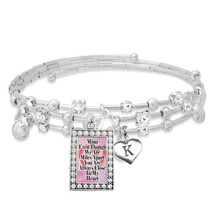 Custom Mimi Even Though We are Miles Apart Silver Bracelet with Initial Charm - $16.73
