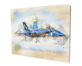 United States Navy Blue Angels Jet Water Color Design 16x20 Aluminum Wall Art - $59.35