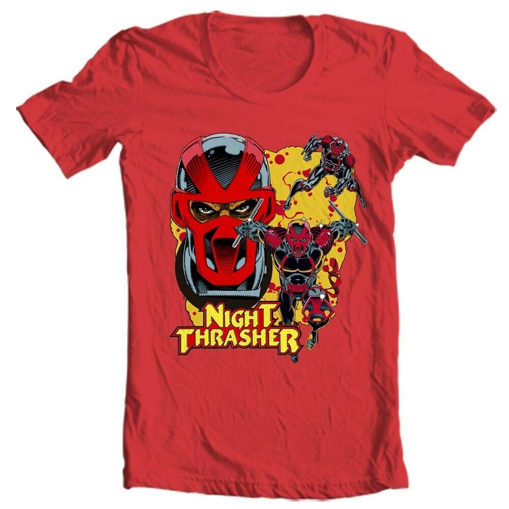 Night Thrasher Graphic T Shirt Marvel Comics New Warriors retro red cotton tee