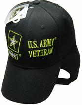U.S. Army Veteran Hat Vet Star Emblem Black Embroidered Ball Cap - $21.77