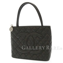 CHANEL Tote Bag Caviar Leather Black Medallion A01804 CC Logo Italy Auth... - $1,452.96