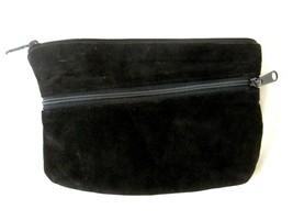 "Vintage Black Genuine Leather Clutch Purse Diagonal Zipper  9"" x 6"" - $4.94"