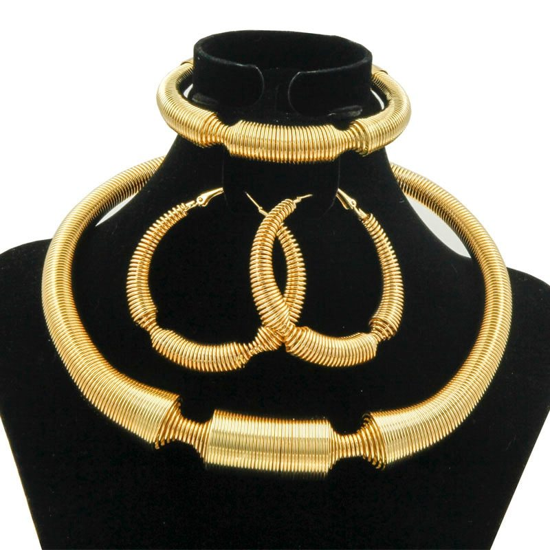 2018 Charm Women Jewelry Sets Big Necklace Earrings Ring Bracelet Gold Fashion Q image 3