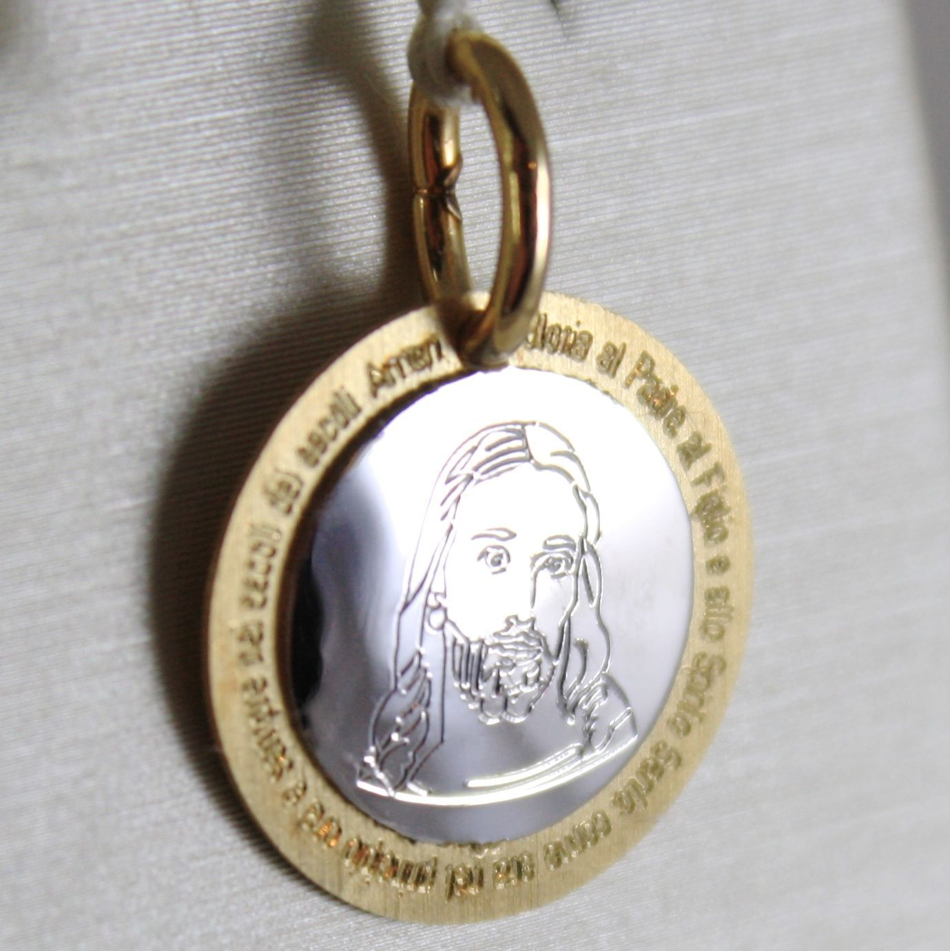 PENDANT MEDAL YELLOW GOLD WHITE 750 18K, FACE OF CHRIST AND PRAYER GLORIA