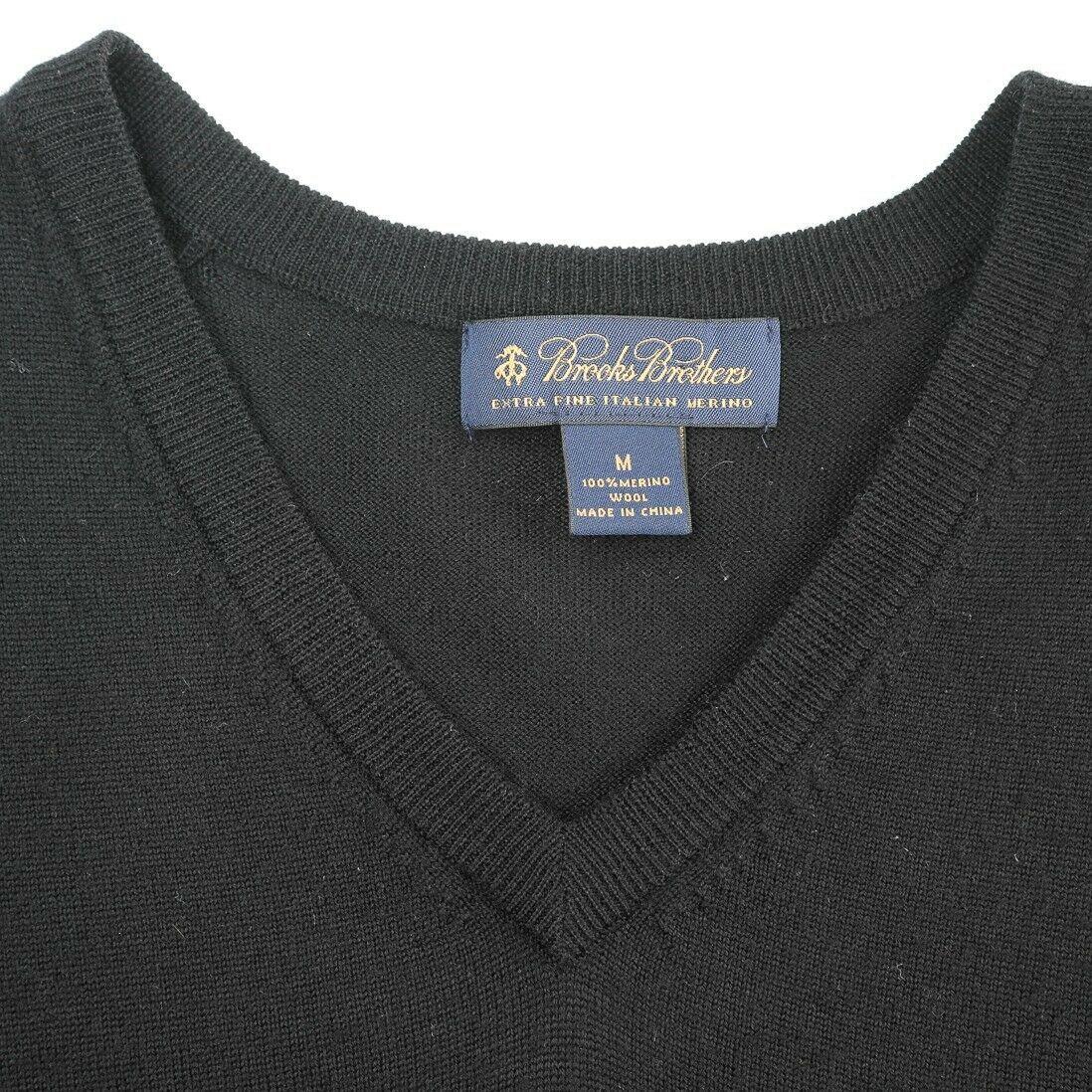 Brooks Brothers Extra Fine Merino Wool Solid Black Sweater Vest Mens Medium image 8