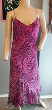 Vtg 90's Betsey Johnson NY Silk Pink Black Zebra Animal Print Grunge Sli... - $85.49