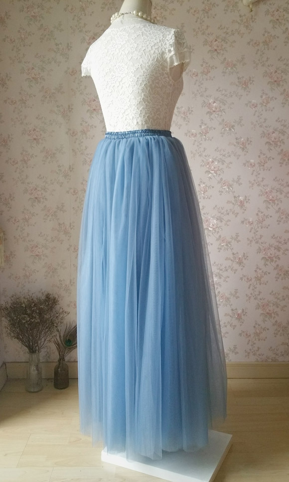 Dusty Blue Tulle Long Skirt and Top Set Blue Wedding Bridesmaids Sets Outfit NWT