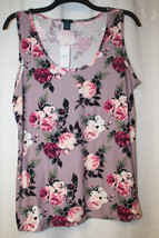 New Womens Plus Size 3X Brushed Violet Purple Rose Flower Floral Print Tank Top - $18.37