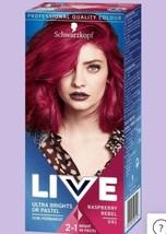 Schwarzkopf Live Semi Permanent Hair Dye Raspberry REBEL12-15 Washes Pink Red - $15.37