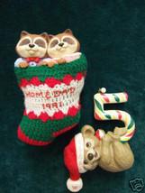 Lot 2 Hallmark Keepsake Christmas Ornaments 1990 & 1991 Raccoons Bear # 5 - $5.93