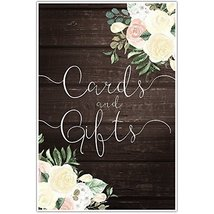 Faux Wood and Flowers Wedding Ceremony Cards and Gifts Sign Poster - $11.39