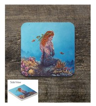 Redhead Mermaid on the Reef Square Sandstone Table Coaster - $6.00