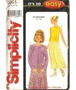 Girls Top, Jacket, Skirt Sewing Pattern Sizes 7-16 Simplicity 9001 UNCUT - $4.99