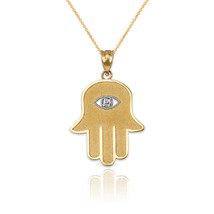 10k Yellow Gold Hamsa Clear CZ Evil Eye Pendant Necklace - $109.99+