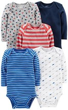 Simple Joys by Carter's Baby Boys' 5-Pack Long-Sleeve Bodysuit, Blue/Red... - $23.75