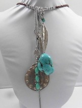 "Signed Express Silver Tone Turquoise Stone Drop Necklace 18"" - $14.01"