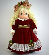 Christmas Doll 2006 Precious Moments Winter On Ice Blonde Curls Red Velv... - $32.66