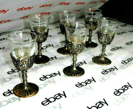 Shot Glass/Cordial Chalice Set of 6 in a Silverplated Grape Motif 2 oz G... - $23.92
