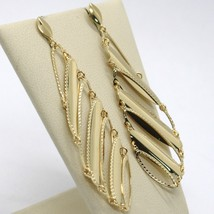 SOLID 18K YELLOW GOLD LONG PENDANT EARRINGS FINELY WORKED DROPS, MADE IN ITALY image 2