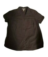 WOMAN'S White Stag Dark Brown Short Sleeve Button-down Blouse 1X (16W) - $4.00