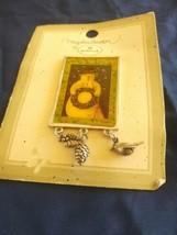 New Hallmark Marjolein Bastin Snowman with Christmas wreath Pin Brooch - $10.00