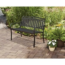 Slat Outdoor Garden Bench Black Patio Lawn Loveseat Yard Chair Seat Furn... - $118.99