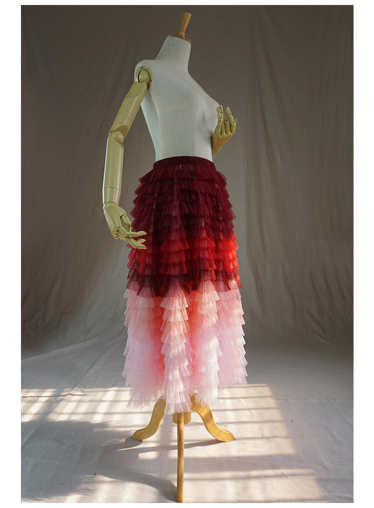 Red pink tulle skirt 3