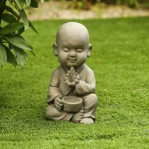 Meditating Bald Buddha Sculpture Serene Asian Zen Monk Garden Statue Fig... - $80.88