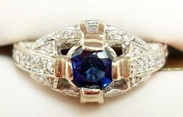 18K Gold Art Deco Style .49ct Genuine Blue Sapphire Ring with Diamonds (#2699) - $1,107.23