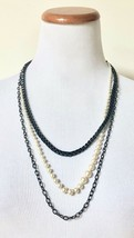 NEW J. Crew J.Crew Triple Strand Pearl Metal Chain Layered Necklace in Box - $39.59