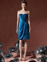 Dessy  8101.....Cocktail length, strapless, Satin Dress....Ocean Blue...... - $49.49