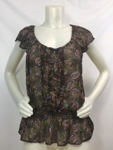 Top Blouse XL Extra Large Women Sheer Short Sleeve Brown Paisley Boho Gypsy - $19.60