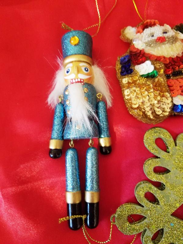nut cracker snowflake santa ornaments decorations glittery sequins crafts