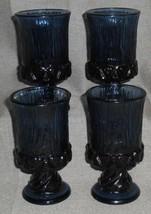 1970s Mid Century Set (4) Fostoria SORRENTO PATTERN Blue Color WINE STEMS - $29.69