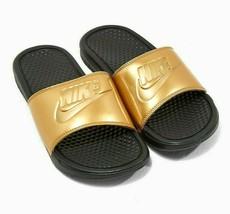 Nike Benassi JDI Print Black Metallic Gold 618919 022 Womens Sandals Slides - $29.95