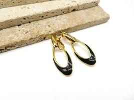 Retro Trifari Black Enamel Gold Tone Modernist Dangle Clip On Earrings K16 - $19.99