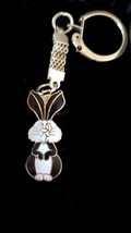 rabbit, black and white rabbit gold with enamel finish keychain keyring  ideal g