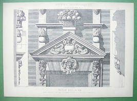 ARCHITECTURE PRINT: Grotesque Motifs Paris King Louis XIII Era Style - $16.20