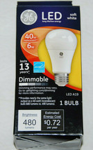 GE LED Dimmable 40W Replacement Light Bulb 6W Soft White A19 NEW - $12.49