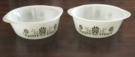 lot of 2 Vintage Glasbake ROUND 1 1/2 QT BOWL J2600 HELPER HANDLES CRAZY... - $14.03